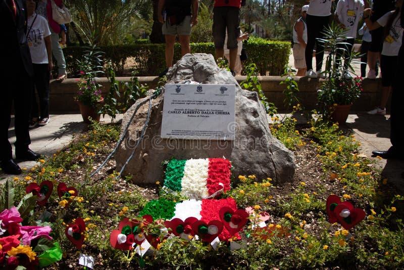 Commemorazione di generale Carlo Alberto Dalla Chiesa, Palermo fotografia stock libera da diritti