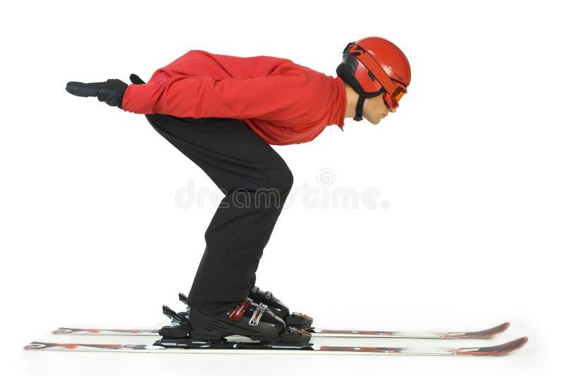 commence son ski de cavalier de saut photos stock