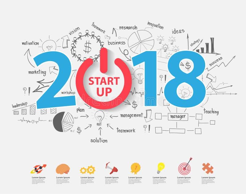 2018 commencent le plan de stratégie de réussite commerciale illustration de vecteur