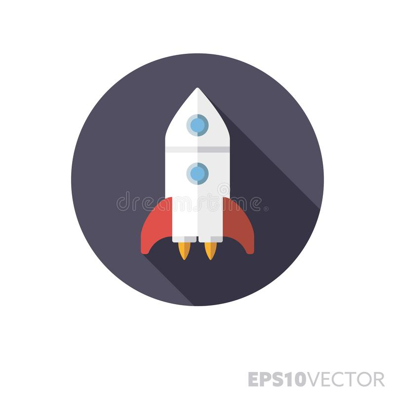 Commencer icône de vecteur de couleur d'ombre de conception plate de fusée la longue illustration libre de droits