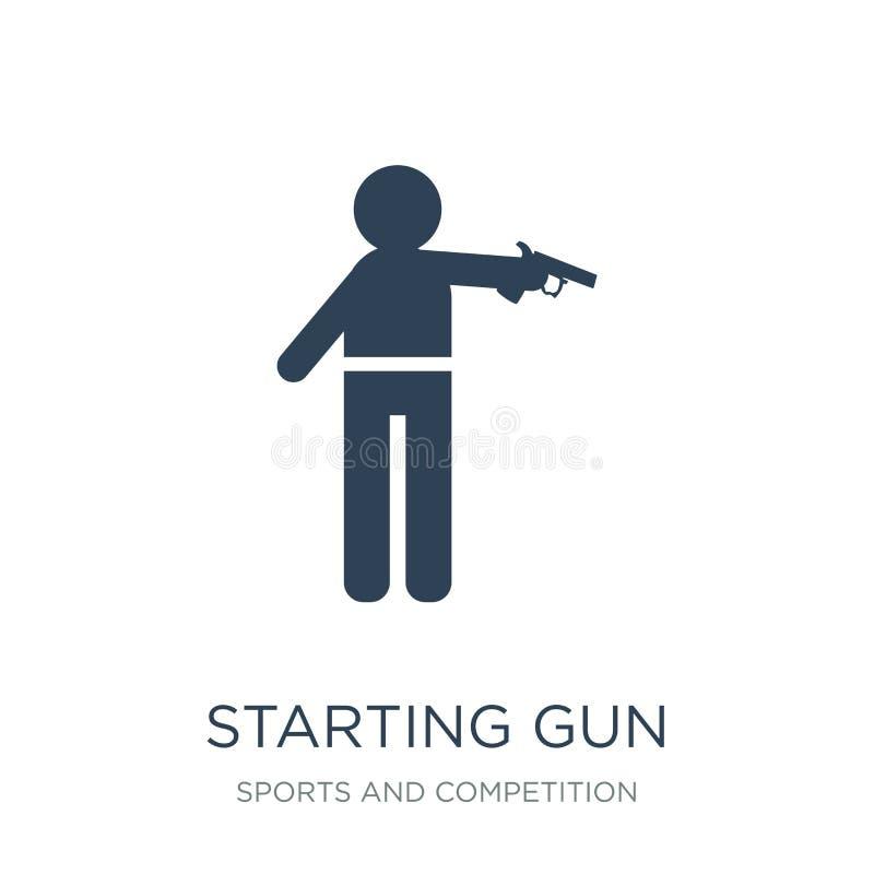 commencer l'icône d'arme à feu dans le style à la mode de conception commençant l'icône d'arme à feu d'isolement sur le fond blan illustration stock