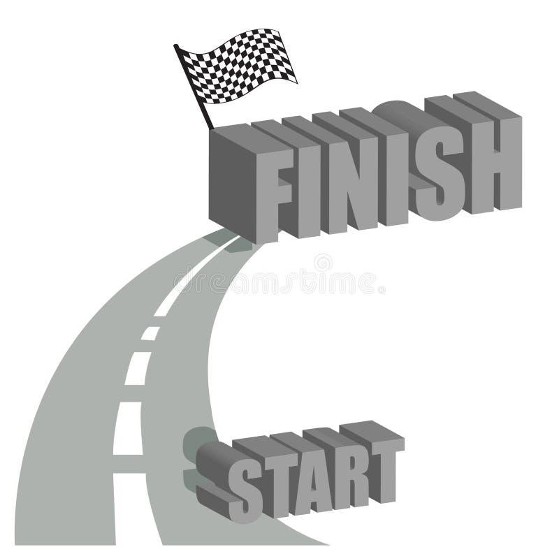 Commencez à terminer la conception d'illustration de route illustration stock