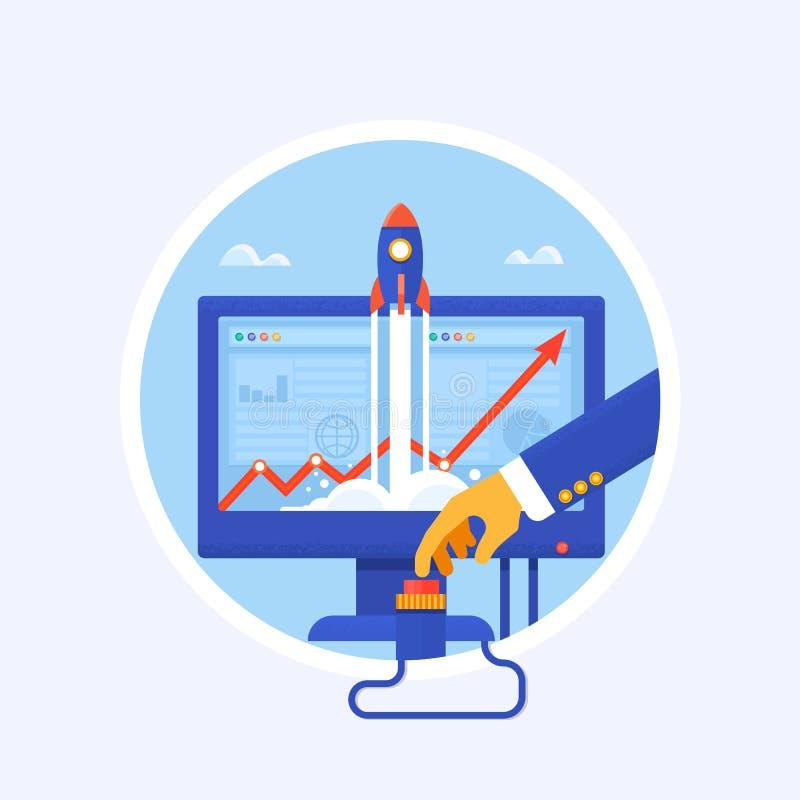 Commencez  Homme d'affaires poussant le bouton marche Illustration de concept de vecteur illustration de vecteur