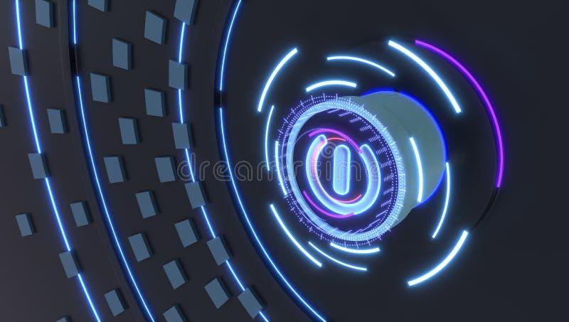 Commencez l'icône avec les lumières futuristes d'hologrammes, l'illustration 3d images libres de droits