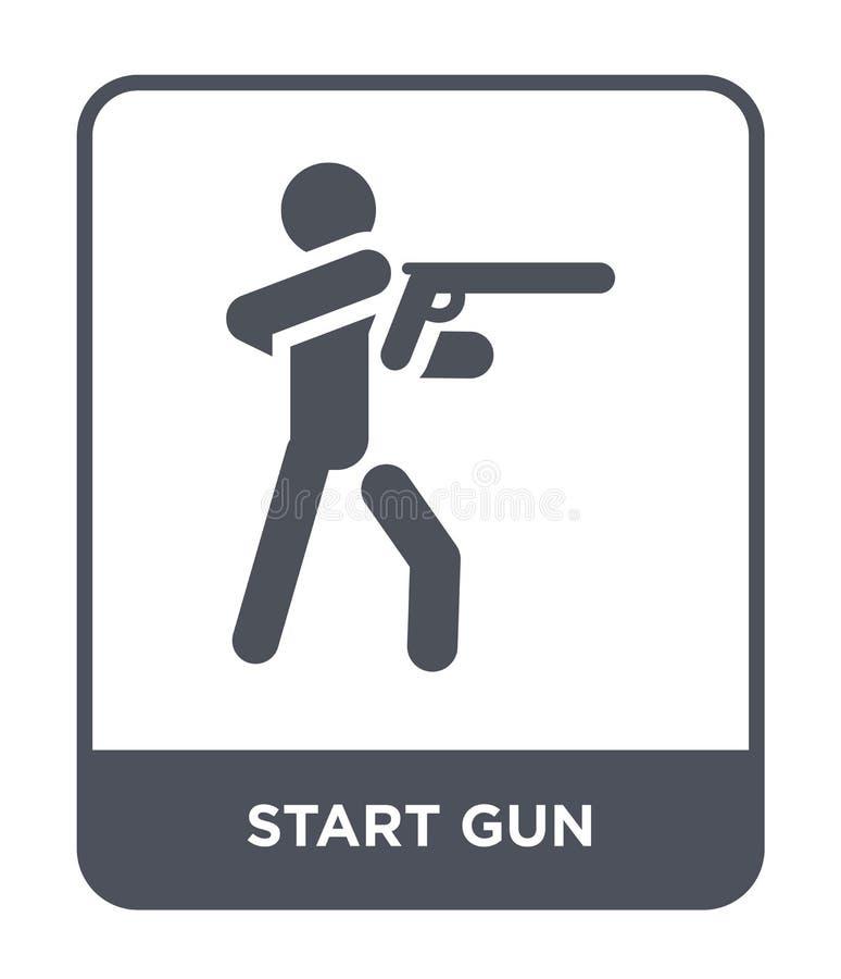 commencez l'icône d'arme à feu dans le style à la mode de conception commencez l'icône d'arme à feu d'isolement sur le fond blanc illustration de vecteur