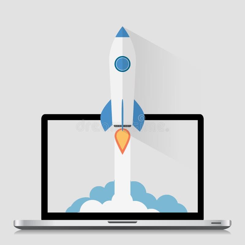 Commencez la conception plate moderne de Roket de l'espace de concept illustration stock