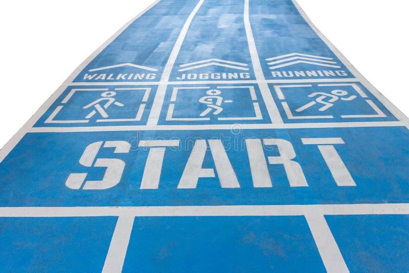 Commencez la promenade et la voie de fonctionnement, fond blanc images stock
