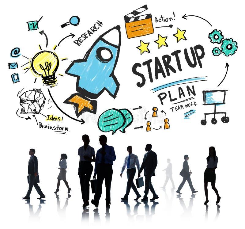 Commencez le concept de banlieusard d'affaires de succès de lancement d'affaires images libres de droits