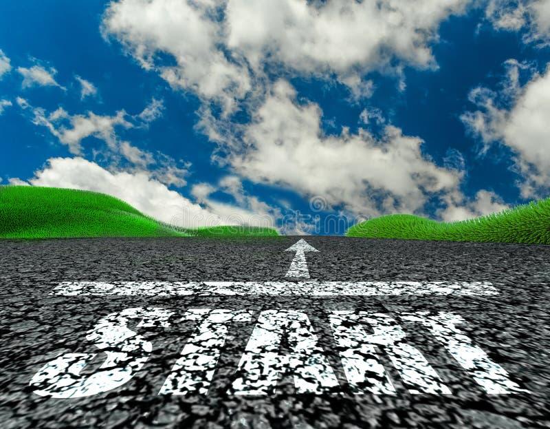 Commencez le rendu des nuages -3d d'herbe de nature de voyage de rue de route illustration stock