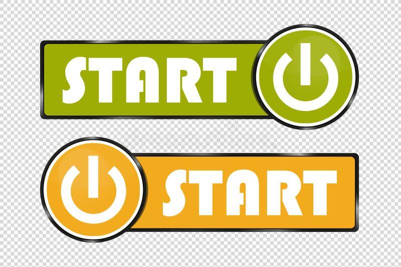Commencez les boutons de place et de cercle de puissance - verts et l'illustration jaune de vecteur - d'isolement sur le fond tra illustration de vecteur
