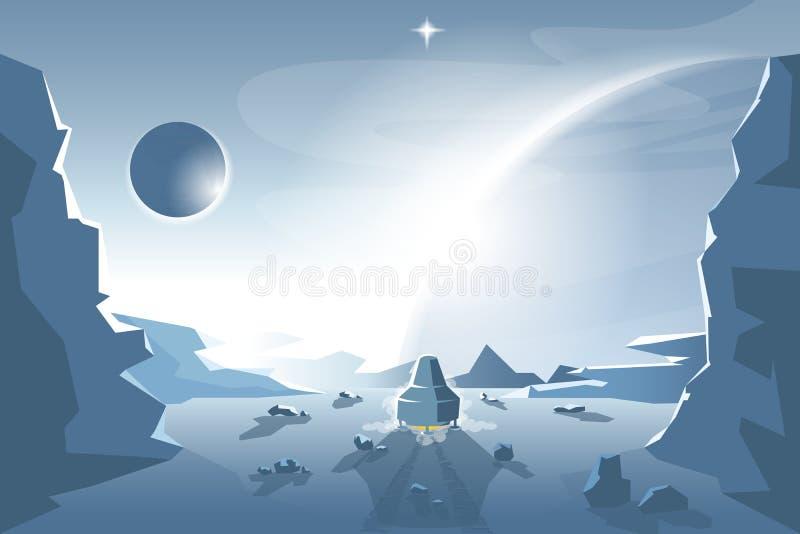Commencez une navette à partir d'une planète inconnue illustration libre de droits