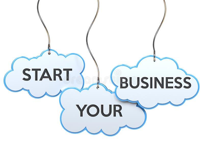 Commencez vos affaires sur la bannière de nuage illustration libre de droits