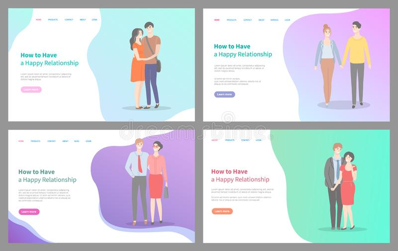 Comment établir l'information heureuse d'ensemble de site Web de relations illustration de vecteur