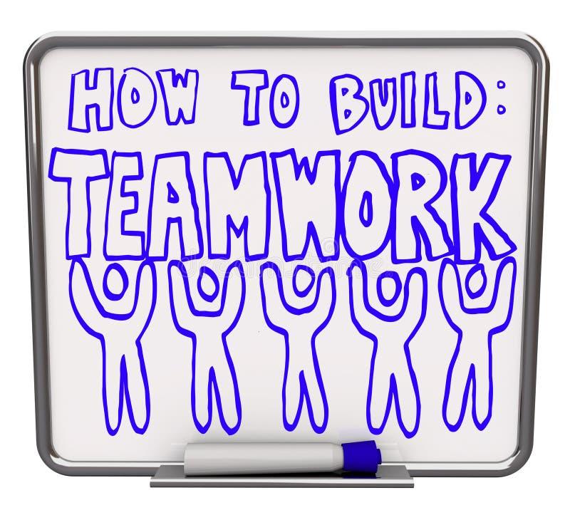 Comment établir le travail d'équipe - séchez le panneau d'effacement illustration libre de droits