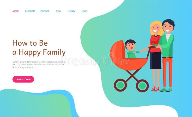 Comment être l'information heureuse de site Web de famille avec des personnes illustration libre de droits
