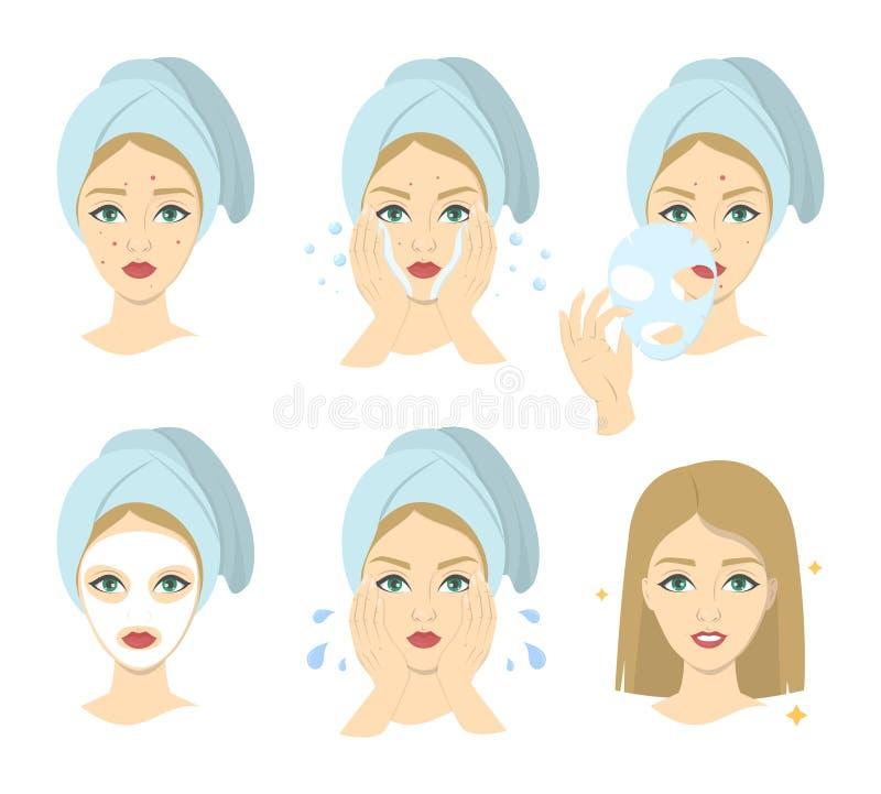 Comment appliquer l'instrustion de masque protecteur pour des femmes illustration stock