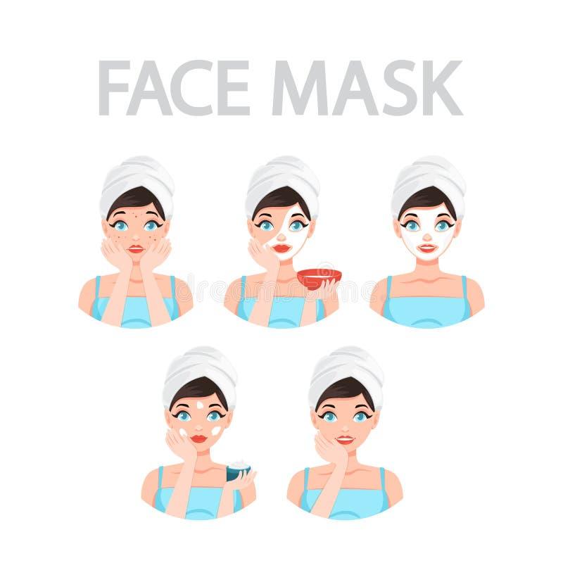Comment appliquer l'instrustion de masque protecteur pour des femmes illustration de vecteur