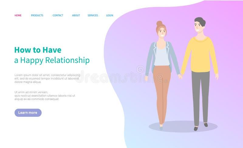 Comment avoir le vecteur heureux de site Web de relations illustration de vecteur