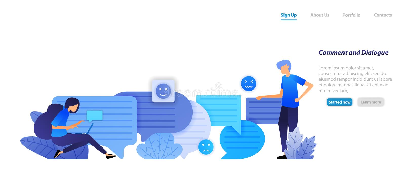 Comment box and dialog. people chat each other with bubble chat emoticons for speech and communication. flat illustration concept. For landing page, web, ui stock illustration
