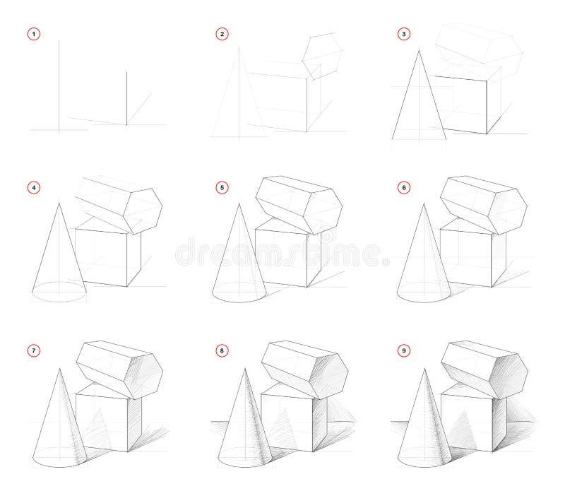 Comment dessiner un croquis par étapes de la vie morte avec des formes géométriques. Création étape par étape dessin au cray illustration libre de droits