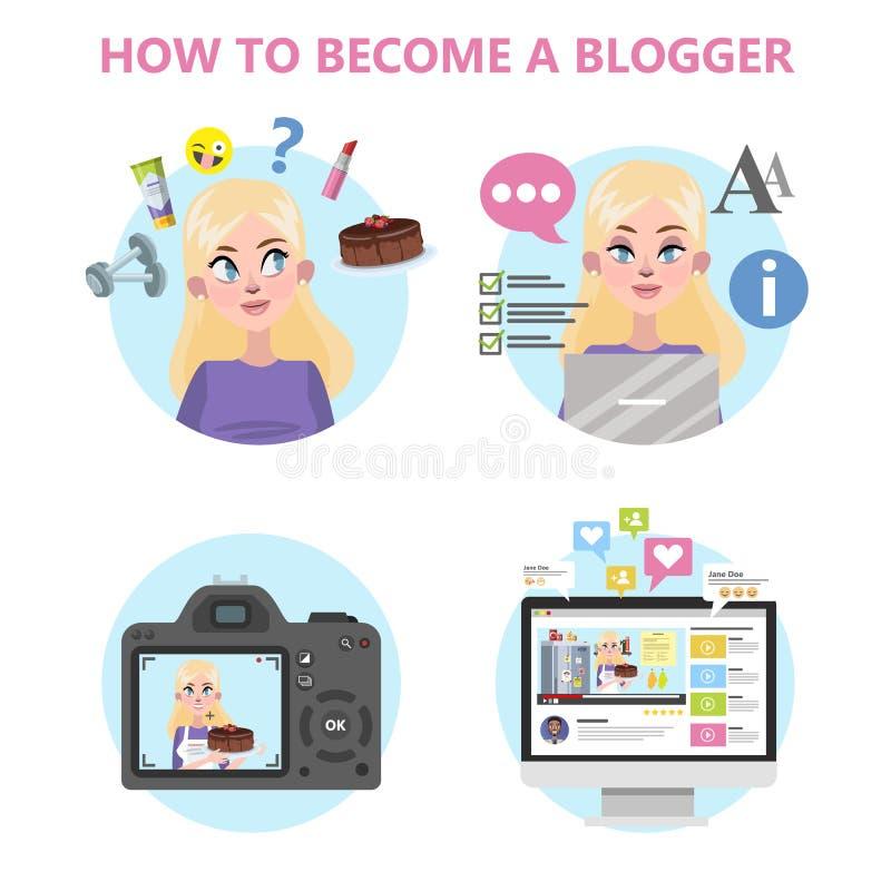 Comment devenir un bon blogger infographic illustration stock