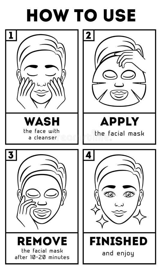 Comment employer le masque facial de feuille Beauté de vecteur et instruction de soin illustration de vecteur