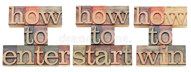 Comment entrer, commencer et gagner images stock