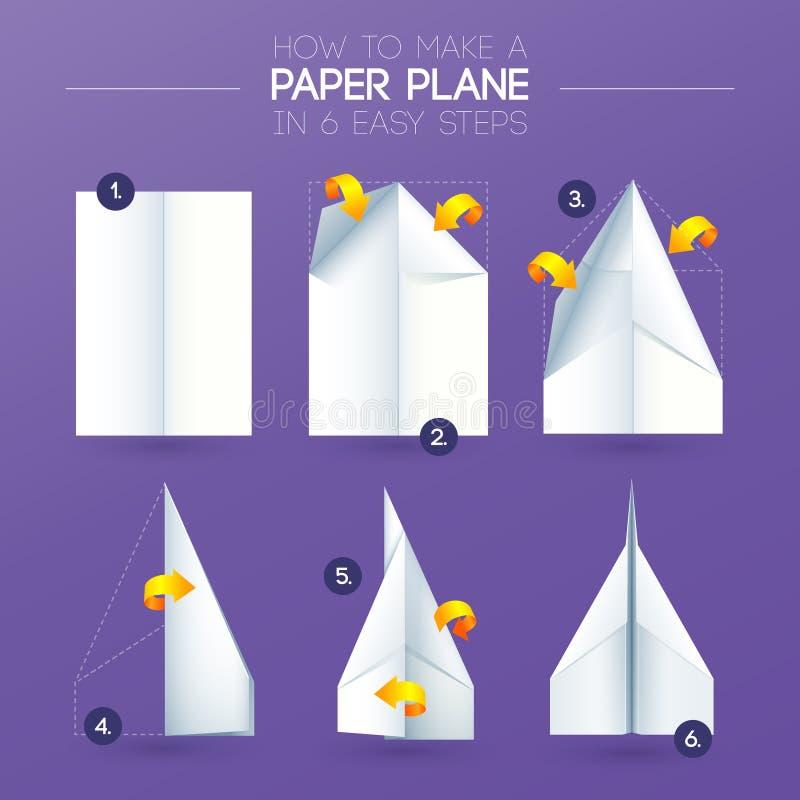 Comment faire à avion d'origami le pliage de papier illustration stock