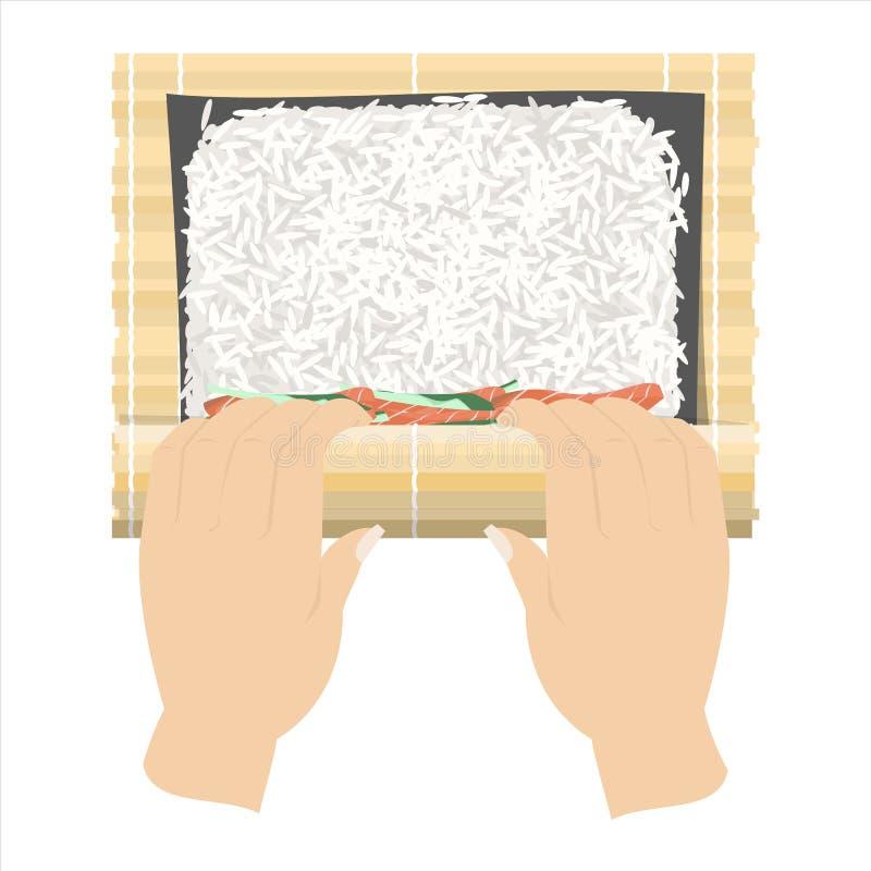 Comment faire des petits pains de sushi à la maison illustration de vecteur