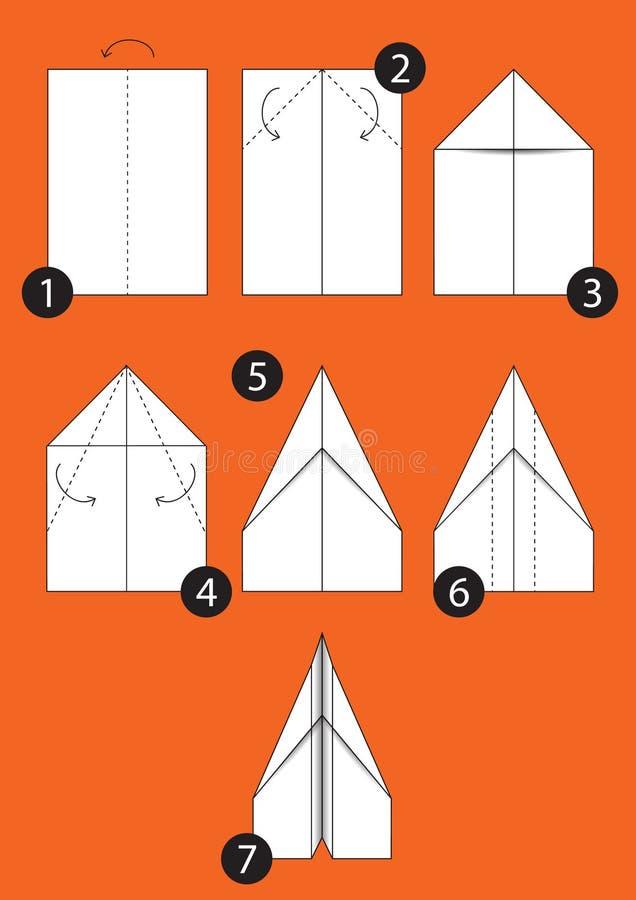 Comment faire l'avion d'origami illustration de vecteur