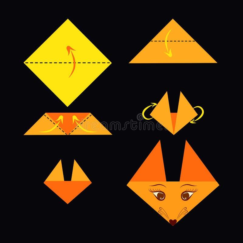 Comment faire un renard, origami pour des enfants illustration de vecteur
