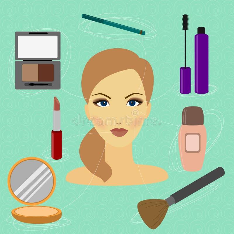 Comment faire une belle femme avec le maquillage illustration libre de droits