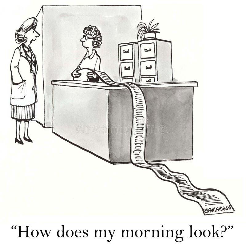 Comment fait mon matin recherchez le femme illustration de vecteur
