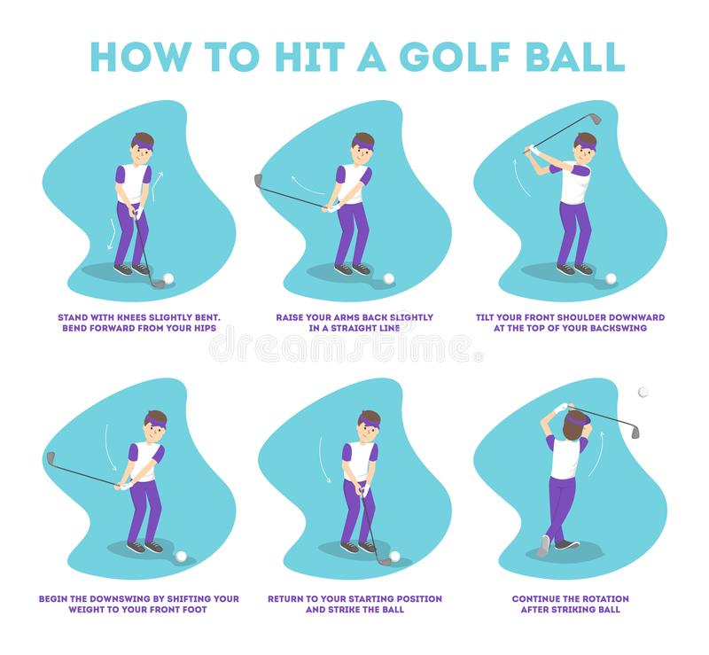 Comment jouer le guide de golf pour des débutants illustration libre de droits