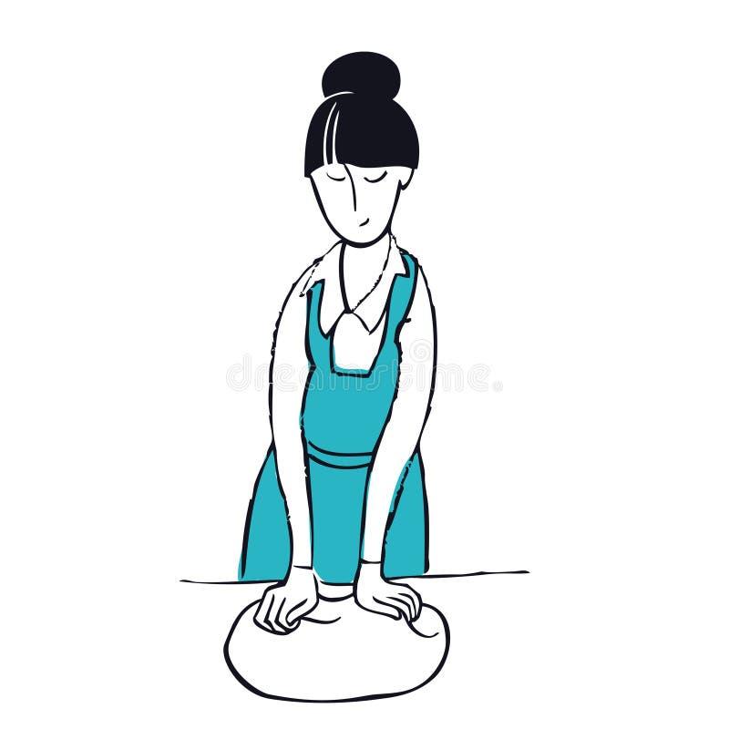 Comment malaxer la pâte une femme portant une illustration de vecteur d'objet d'isolement par tablier bleu illustration stock