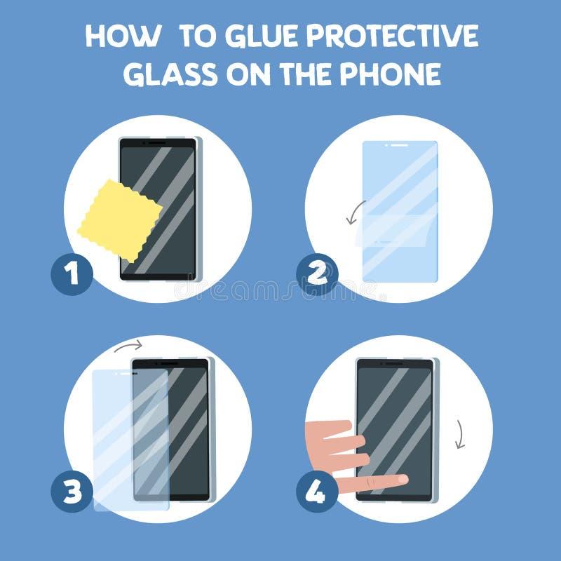 Comment mettre un protecteur en verre d'écran illustration stock