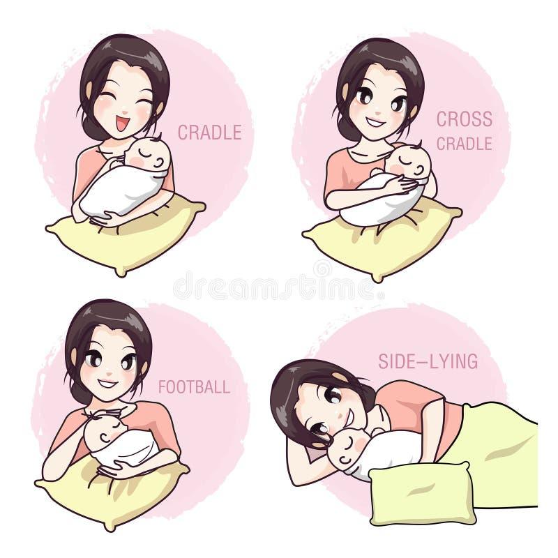 Comment prendre un bébé par une mère illustration de vecteur