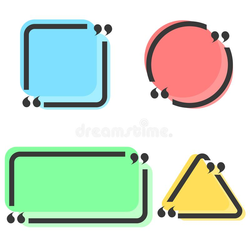 Comment quote box with quotation marks set for message text, blank speech frames collection design element mockup.  stock illustration