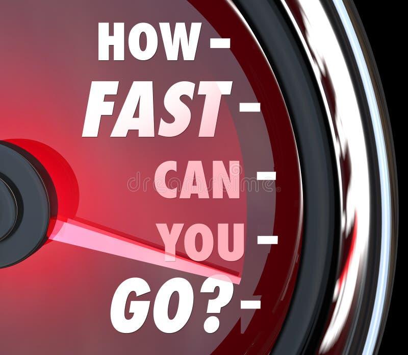 Comment rapidement pouvez vous aller urgence de vitesse de tachymètre illustration libre de droits