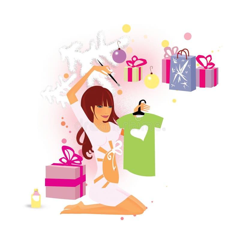 Comment rapporter une grossesse Cadeaux de Noël sous l'arbre blanc La fille enceinte dessine sur la chemise un coeur blanc illustration de vecteur