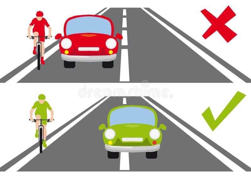 Comment rattraper un cycliste sur le chemin correct de route illustration libre de droits
