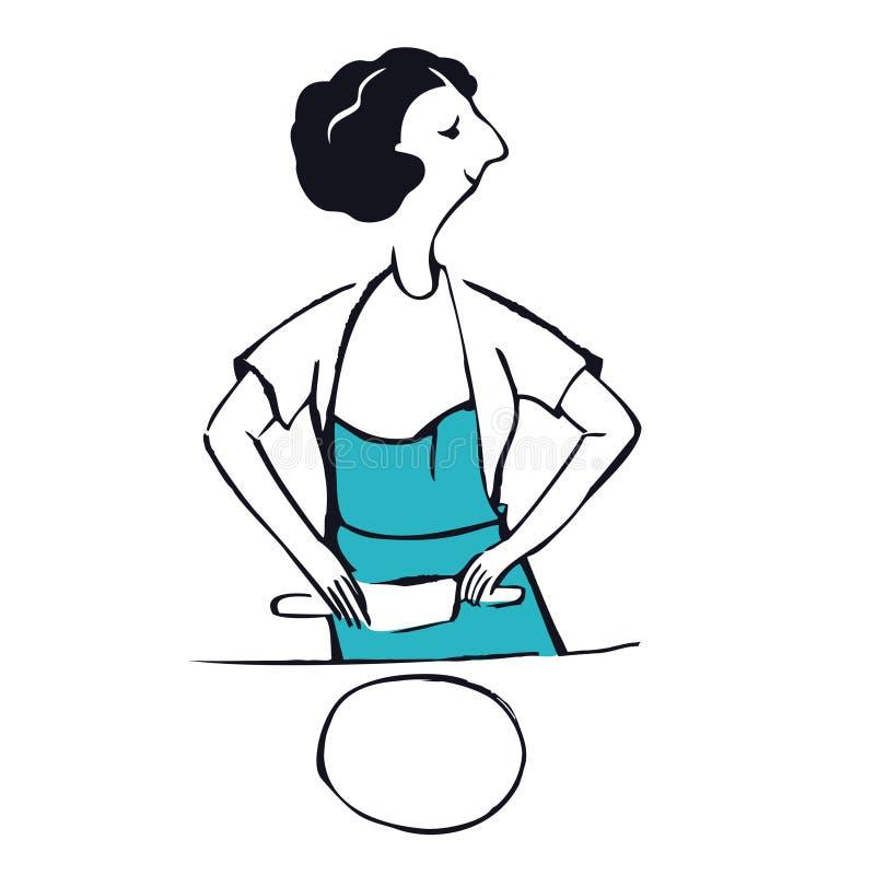 Comment rouler la pâte avec une goupille une femme portant une illustration de vecteur d'objet d'isolement par tablier bleu illustration de vecteur