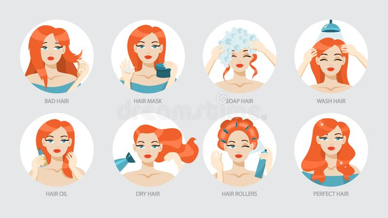 Comment s'inquiéter de votre instruction de cheveux illustration de vecteur