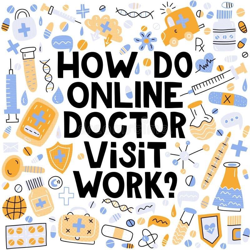 Comment soignez en ligne le travail de visite ? illustration stock