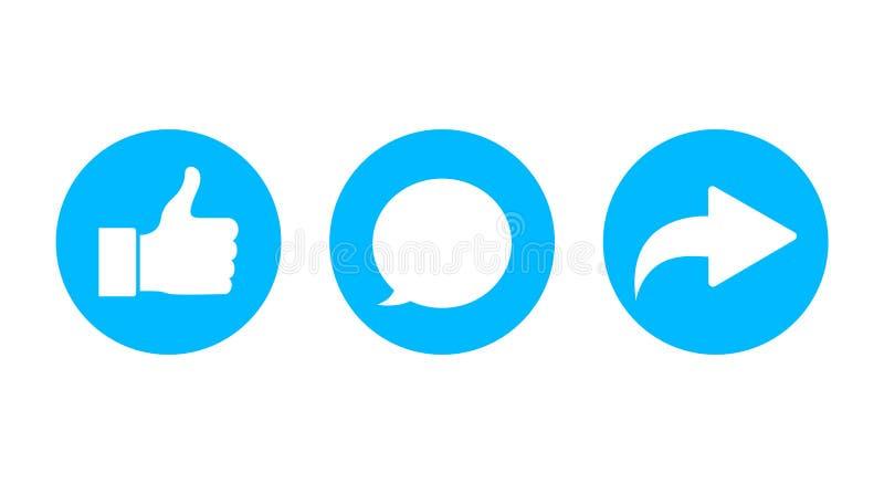Commentaire, part, comme l'icône de bouton Symbole de clic de courrier pour des médias sociaux Bouton de commentaire, comme l'icô illustration de vecteur
