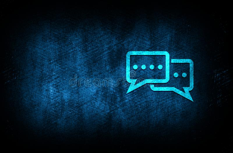 Comments icon abstract blue background illustration digital texture design concept. Comments icon abstract blue background illustration dark blue digital texture royalty free illustration