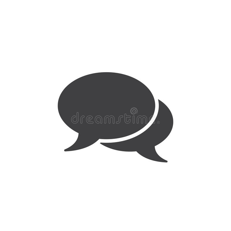 Comments icon , speech bubbles solid logo illustration, ch. At pictogram isolated on white stock illustration