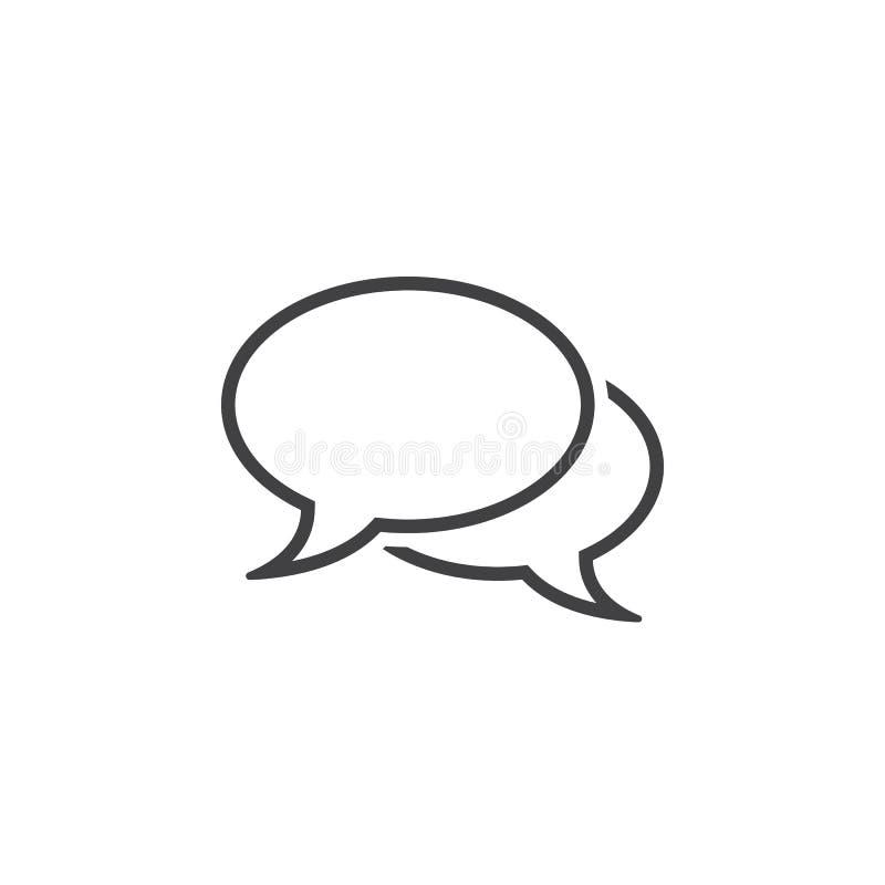 Comments line icon, speech bubbles outline logo illustrat vector illustration