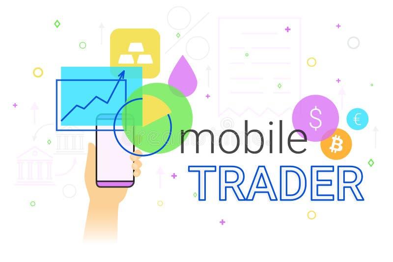 Commerçant mobile APP sur l'illustration créative de concept de smartphone illustration de vecteur