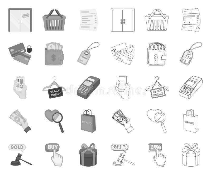 Commerce électronique, achat et vente mono, icônes d'ensemble dans la collection réglée pour la conception Web commercial et de f illustration stock
